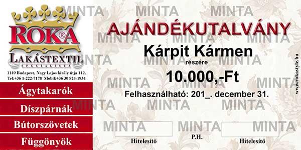 ROKA Lakástextil Ajándékutalvány igénylő oldala